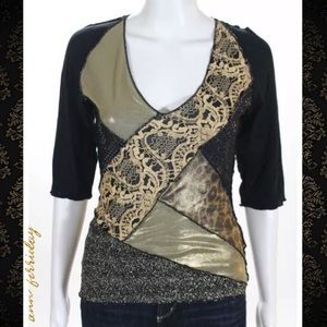ANN FERRIDAY Blk/Gold Lace Shimmer Sections Blouse